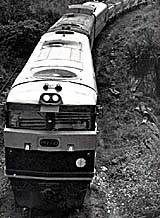 NT 72 at the head of a triple headed ore train on the North Australia Railway, circa 1968